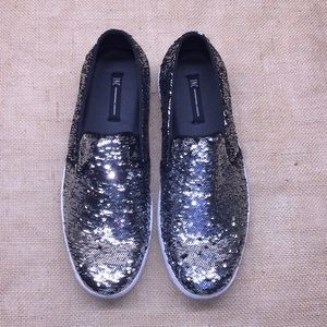 INC Silver/Black Sequined Loafers 8.5M